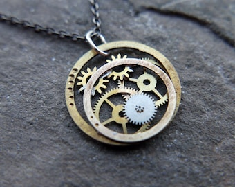 "Watch Parts Necklace ""Furud"" Pendant Recycled Mechanical Watch Gears Intricate Sculpture Wearable Art Steampunk Assembly Gershenson"