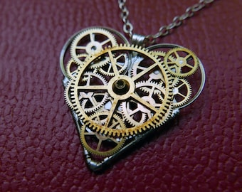 "Watch Parts Heart Necklace ""Garwood"" Steampunk Pendant Industrial Clockwork Mechanical Gear Love Gift Wife Girlfriend Easter Gift"
