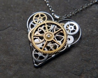 "Elegant Industrial Watch Parts Heart Necklace ""Johansen"" Pendant Clockwork Mechanical Gear Love Gift Wife Girlfriend Birthday Gift"