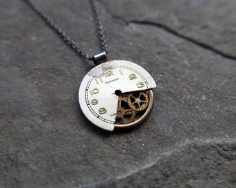 """Reconstructed Watch Dial Necklace """"Faherty"""" Elegant Cut Dial Pendant Recycled Upcycled Gear Art Steampunk A Mechanical Mind Gift Idea"""