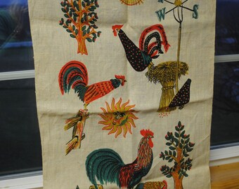 Sale - Vintage Painted Linen Wall Hanging or Table Top Cover - Free Shipping within USA