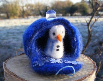 Needle Felted Snowman with a blue scarf in his ice cave home - Winter, Yule, Christmas decortaion