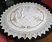 Arts and Crafts Round Tablecloth Crochet Edge Basket Design Natural Linen Embroidery