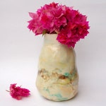 Ceramic vase - cream coloured with chocolate brown and teal