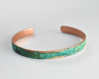 Skinny Patina Copper Bangle