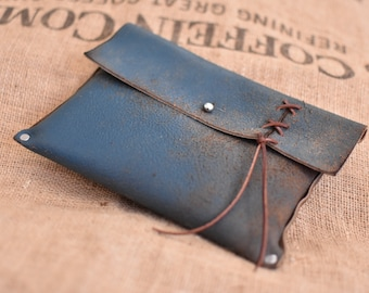 LIMITED- Blue Distressed Leather Hand Clutch