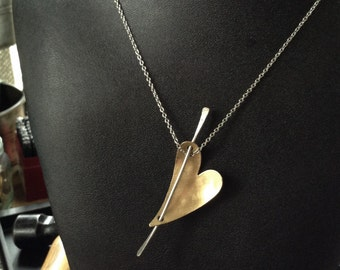 Simplistic, Artisan Brushed Brass Heart Pendant Necklace