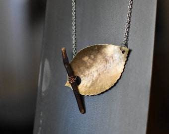 Autumn Leaf Artisan Pendant with Wood and Brushed Brass