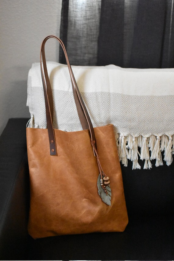 d8638fc7969b Camel Brown Leather Tote Bag