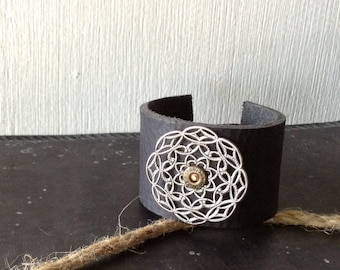 Filigree & Leather Cuff Bracelet