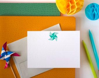 Letterpress Green Pinwheel Note Set
