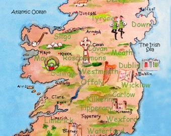 Map Of Ireland And Counties.Map Of Ireland Etsy