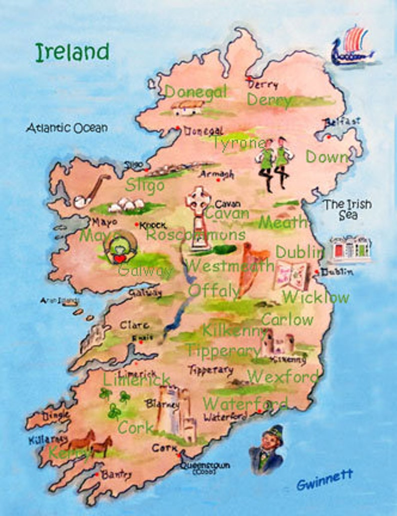 Map Of Ireland With Towns.Illustrated Map Of Ireland Towns And Counties