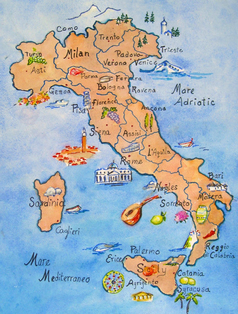LARGE Illustrated Map Of Italy on