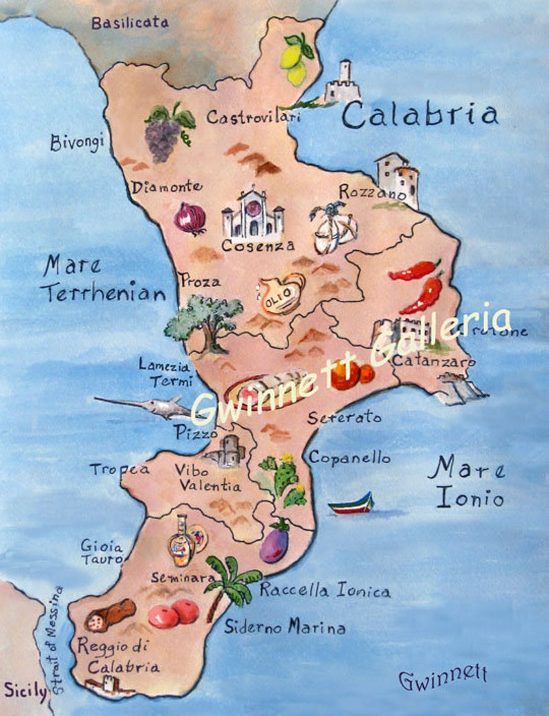 Map Of Calabria Italy   Etsy