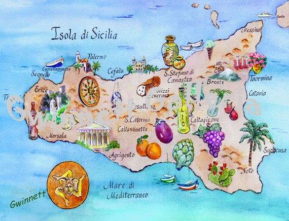 image regarding Printable Map of Sicily called Map of the Island of Sicily Italy Replica Artwork Print of First Watercolor via North Carolina Artist Kathleen Gwinnett