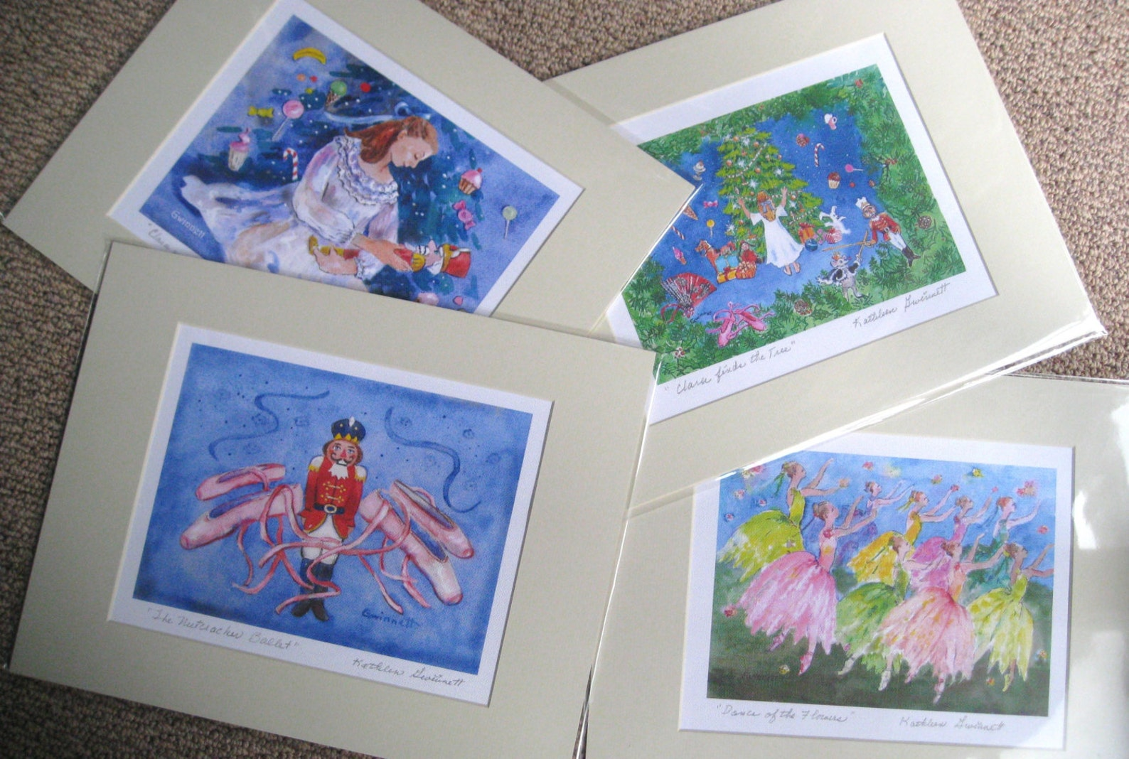 nutcracker & ballet shoes print 11x14 inches matted.signed by artist