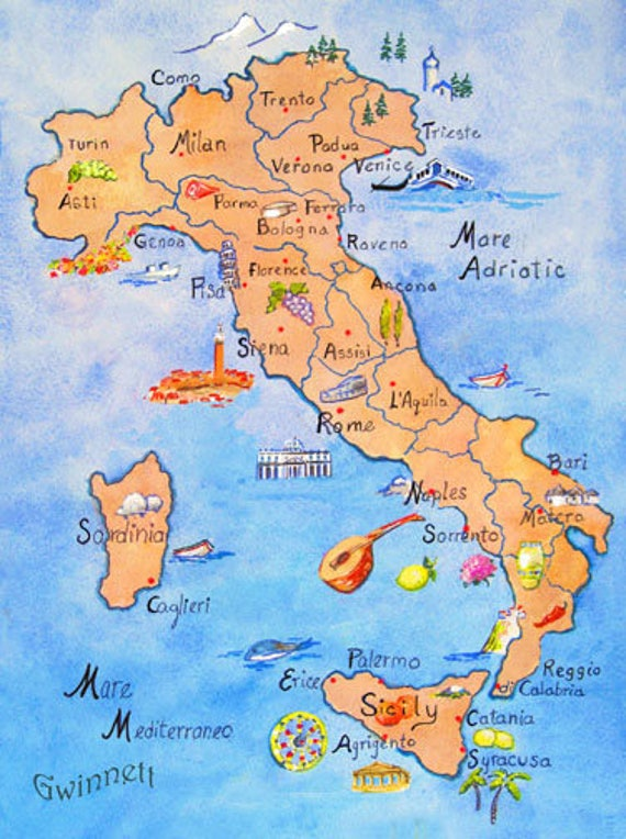 ITALY CALABRIA SICILY 3 Illustrated Maps   Etsy