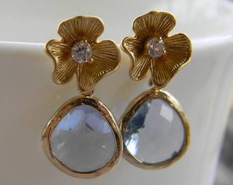 Light Sapphire and Gold Flower Earrings, Bride, Bridal, Wedding