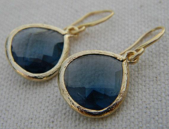 Navy Earrings / Sapphire Blue Dangle Earrings Trimmed in ...