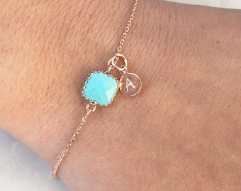 Personalized birthstone bracelet, initial birthstone bracelet, dainty layering bracelet, bracelet with initial, personalized gift for her,