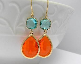 Orange and Turquoise Earrings / Dangle Earrings / Gold Earrings / Bridesmaid Earrings / Bridesmaid Gift / Orange and Aqua Earrings / Gift