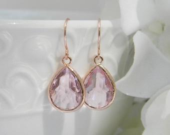 Rose Gold Earrings - Blush Pink Earrings - Rose Gold Bridesmaid Earrings -  Wedding Earrings - Bridesmaid Gift - Dangle Earrings - Gift Idea