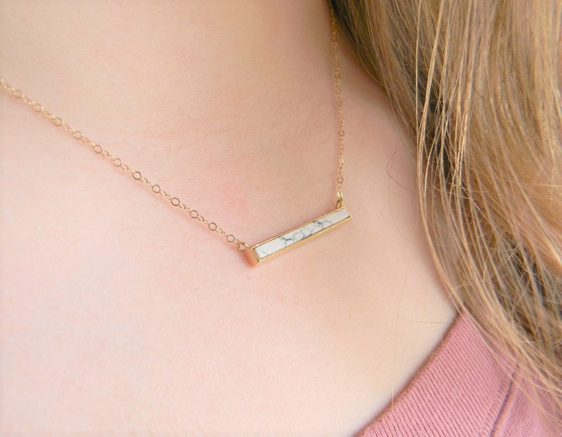 3f262febe42cd Howlite Bar Necklace Dainty Bar Layering Necklace Howlite Jewelry Gift For  Her