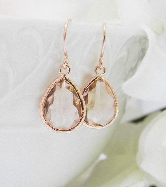 0ae5de3eedebd Bridesmaid Earrings Rose Gold Earrings - Champagne Earrings - Rose Gold  Bridesmaid Earrings - Wedding Earrings - Bridesmaid Gift Weddings