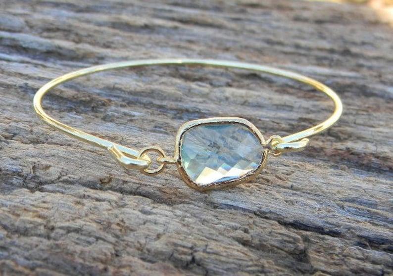 Gold Bangle Bracelet / Aquamarine Bracelet / Bridesmaid Gift / image 0