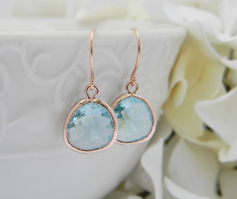 Aquamarine  Earrings in Rose Gold Bridesmaid Gift Dangle image 0