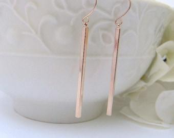 Slim Minimalist  Rose Gold Earrings- Rose Gold Skinny Bar Earrings - Simple Bar Dangle Earrings - Rose Gold Bar Earrings- Gift For Her