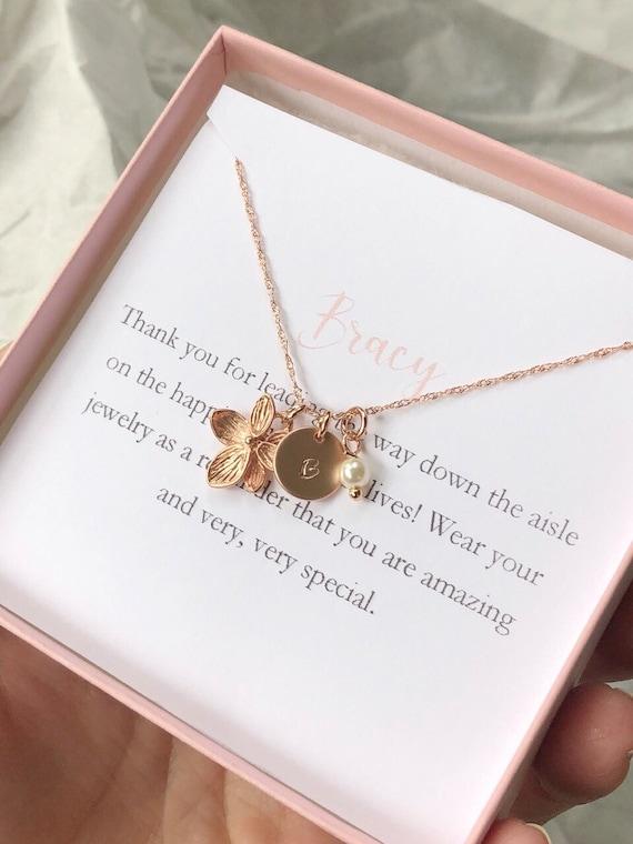 Rose Gold Flower Girl Necklace Toddler Flower Girl Set Etsy
