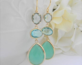 Gold Dangle Earrings  Statement Earrings  Long Earrings Aquamarine and Mint Earrings  Bridesmaid Earrings Gift Idea for Her