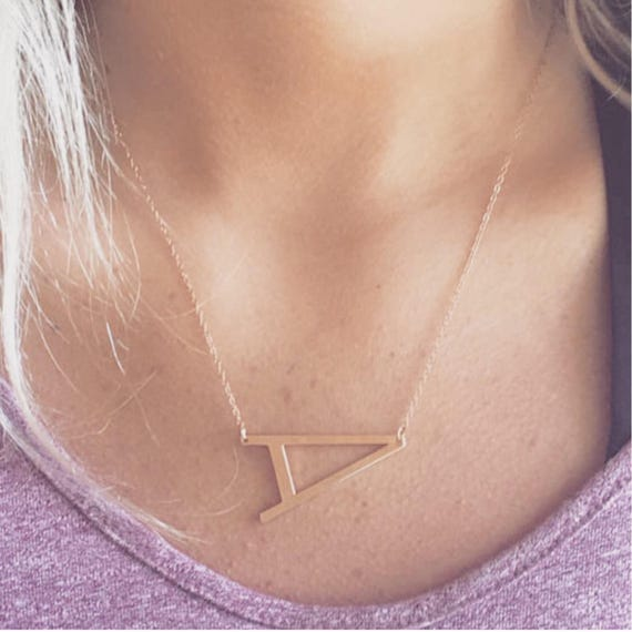 rose gold sideways initial necklace large initial necklace letter necklace layering necklace rose gold personalized letter necklace