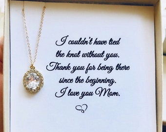 Mother of the Bride Necklace, Mother of Mother of the Groom Gift, Wedding Gift, Bridesmaid Gift, Personalized card Gift for Mom Grandma