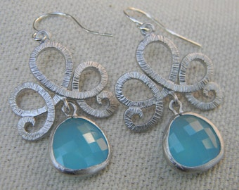 Sky Blue and Sterling Silver Dangle Earrings Bride, Bridal Wedding, Something Blue, Bridesmaid Gift