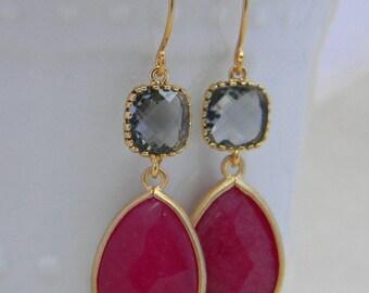 Ruby Earrings, Fuchsia and Gray Earrings, Gold Statement Earrings, Bridesmaid Earrings, Dangle Earrings, Gift for Women
