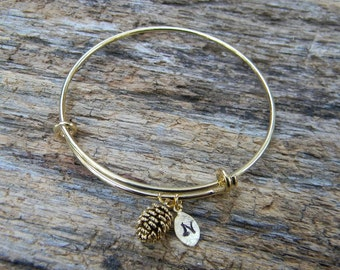 Gold Bangle / Personalized Bangle / Monogrammed Bangle / Gold Pine Cone Bangle  / Adjustable Initial Bangle / Bridesmaid Gift / Black Friday