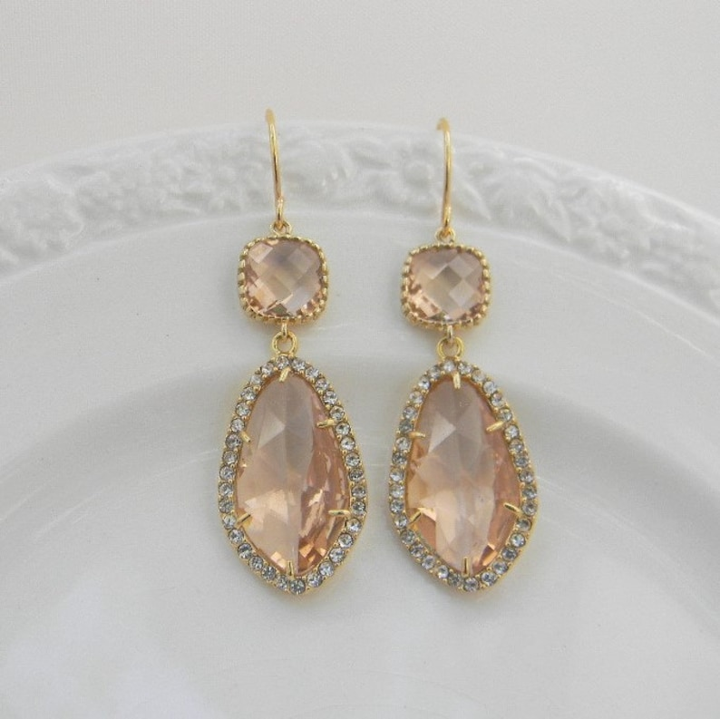 b7b39da3e Large Gold Champagne Earrings Peach Bridesmaid Earrings | Etsy