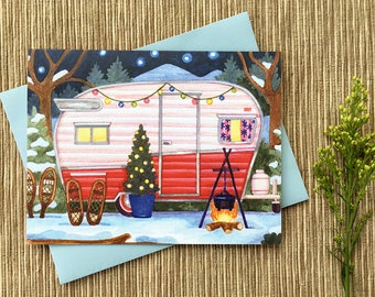 Winter Camper Holiday Card, Vintage Camper Holiday Card, Single Card