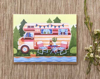 Summer Camper Greeting Card, Camping Card, Single Card, Blank Inside