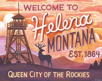 Welcome to Helena Montana, Helena Postcard, Single Montana Postcard