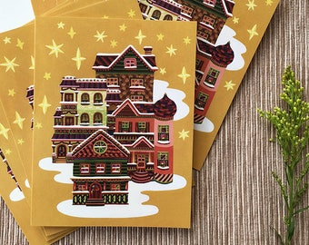 Painted Ladies Christmas Cards, Old Houses Holiday Cards, Gingerbread House Card, Boxed Set of 8 Holiday Cards
