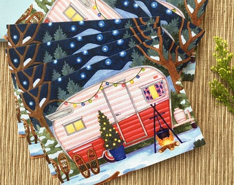 Winter Camper Holiday Cards, Vintage Camper Holiday Cards, Boxed Set of 8