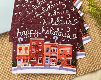 Holiday Cards, Boxed Set of 8, Row Home Holiday Greeting Cards, Christmas Cards