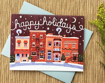 Holiday Card, Happy Holidays, Row Homes, Row Houses, Holiday Houses, Christmas Card, Single Card