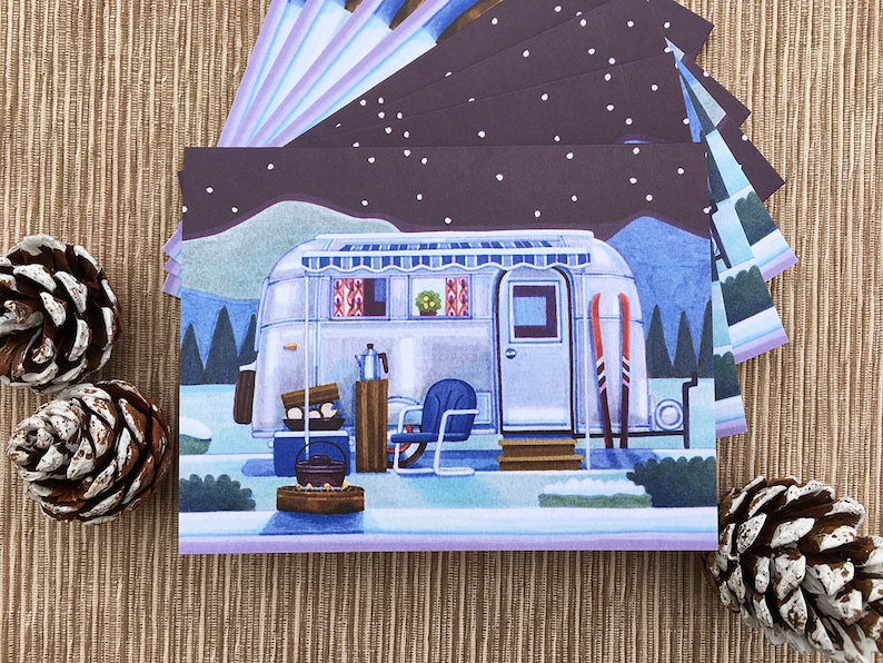 Camping Christmas Cards.Winter Camper Greeting Cards Camping Cards Boxed Set Of 8 Cards