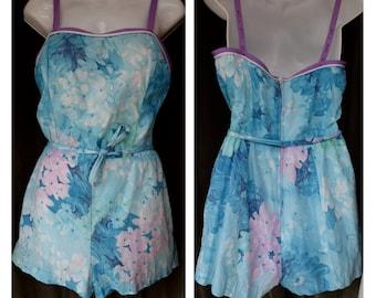 194e7c449c7 Vintage 1960s De Weese Design Floral Romper    Summer Outfit    Watercolor  Floral Print    Pastel Blue and Purple
