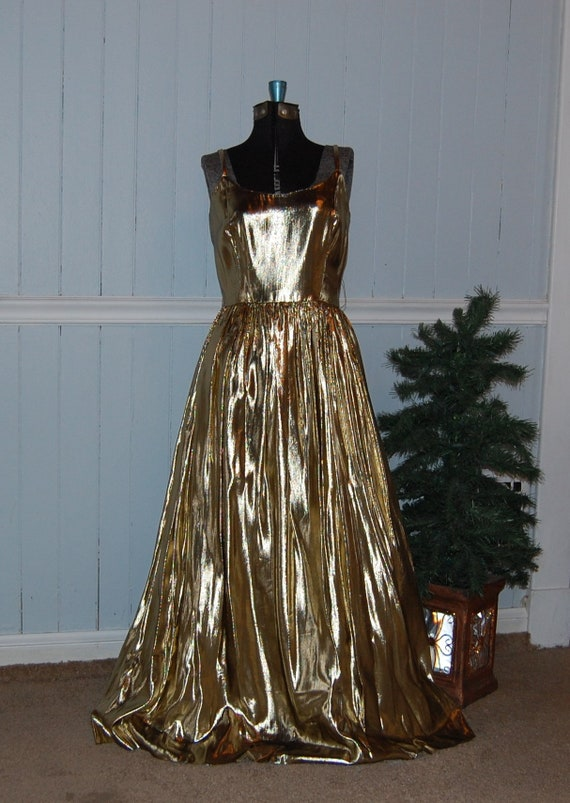 Gold Lame 2 Piece Gown - image 2